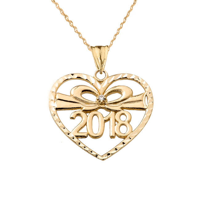 Diamond 2018 Graduation heart Pendant Necklace In Yellow Gold