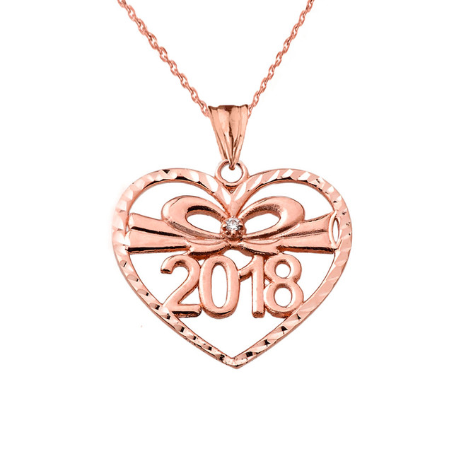 Diamond 2018 Graduation heart Pendant Necklace In Rose  Gold