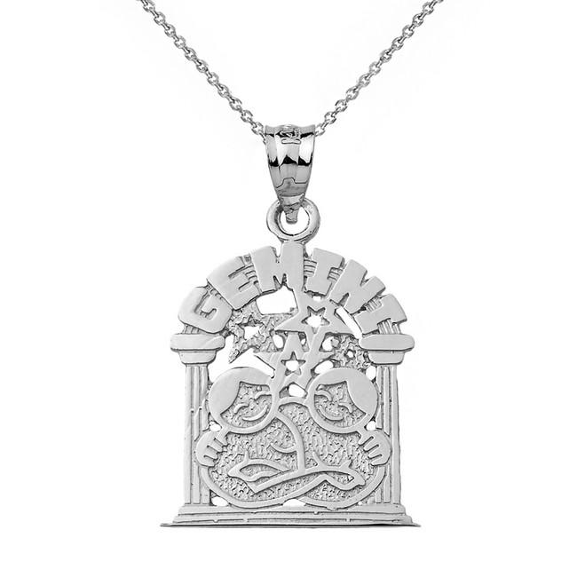 Solid White Gold Zodiac Gemini Pendant Necklace