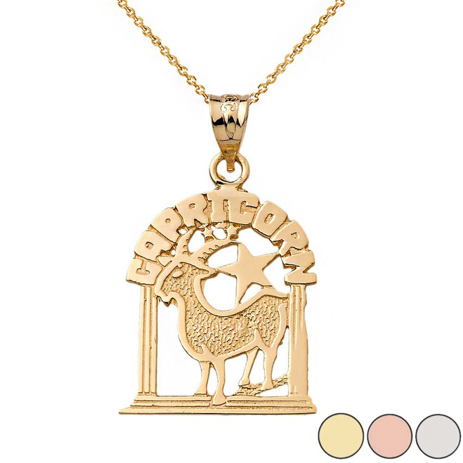 Zodiac Capricorn  Pendant Necklace in Solid Gold (Yellow/Rose/White)