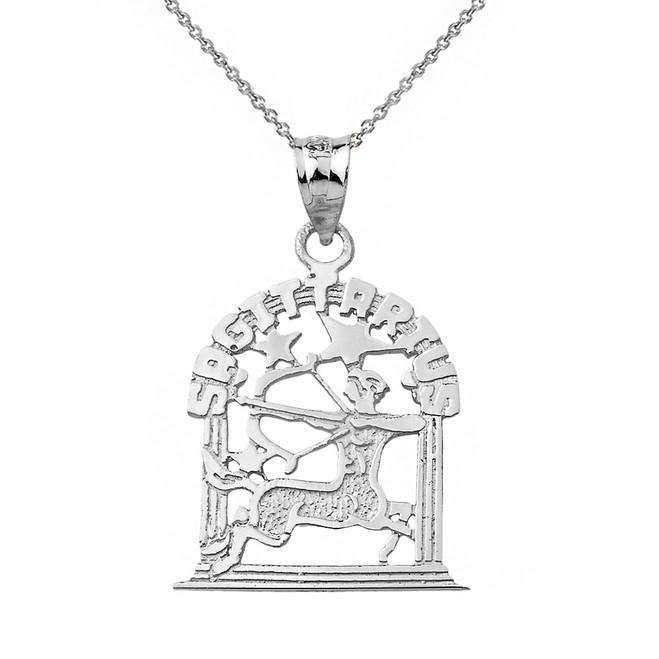Solid White Gold Zodiac Sagittarius Pendant Necklace