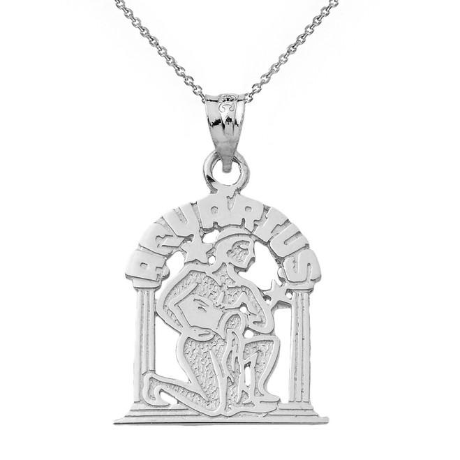 Sterling Silver Zodiac Aquarius Pendant Necklace