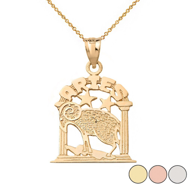 Zodiac Aries Pendant Necklace in Solid Gold (Yellow/Rose/White)
