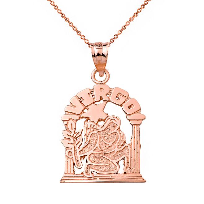 Solid Rose Gold Zodiac Virgo Pendant Necklace