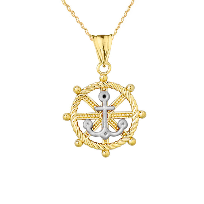Anchor with Roped Helm in Two Toned Yellow & White Gold
