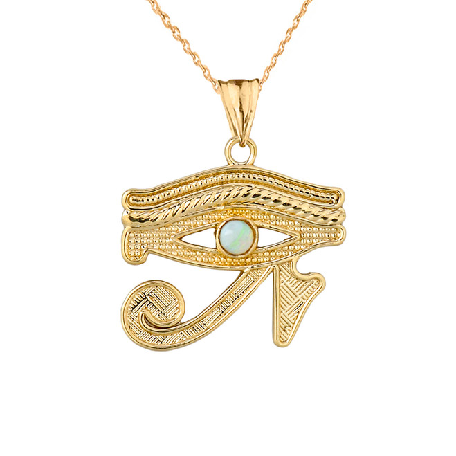 Eye of Horus (Ra) with Opal Center Stone Pendant Necklace in Yellow Gold