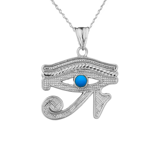 Eye of Horus (Ra) with Turquoise Center Stone Pendant Necklace in White Gold