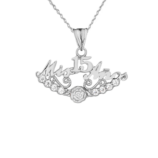 """Mis 15 Años"" Quinceañera Pendant Necklace in Sterling Silver"