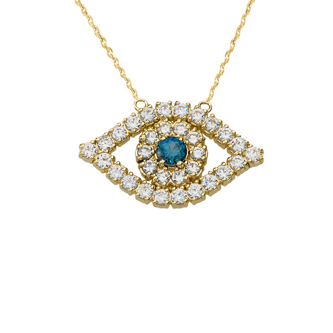 14K  Diamond and Sapphire Evil Eye Necklace in Yellow Gold