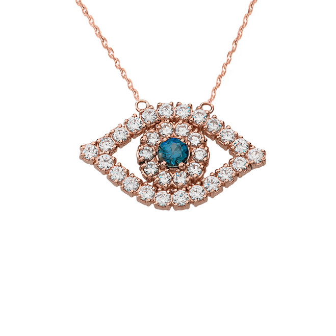 14K Diamond and Sapphire Evil Eye Necklace in Rose Gold