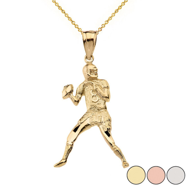 Sparkle Cut Football Player Pendant Necklace in Solid Gold (Yellow/Rose/White)