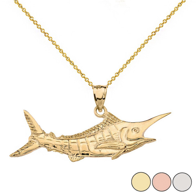Billfish Black Marlin Pendant Necklace in Solid Gold (Yellow/Rose/White)