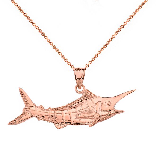 Solid Rose Gold Billfish Black Marlin Pendant Necklace