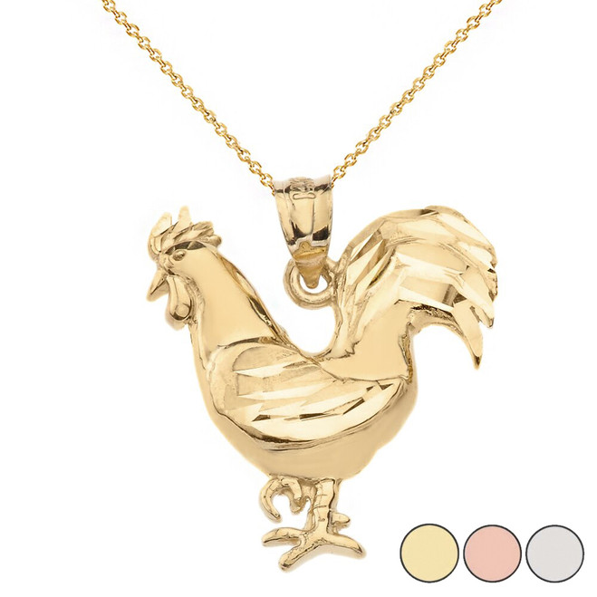 Sparkle Cut Rooster Pendant Necklace in Solid Gold (Yellow/Rose/White)