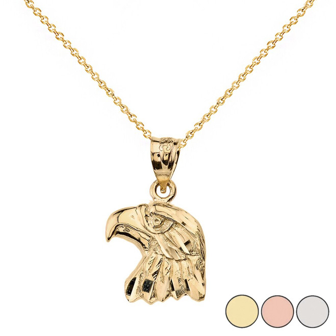 Sparkle Cut Eagle Head Pendant Necklace in Solid Gold (Yellow/Rose/White)