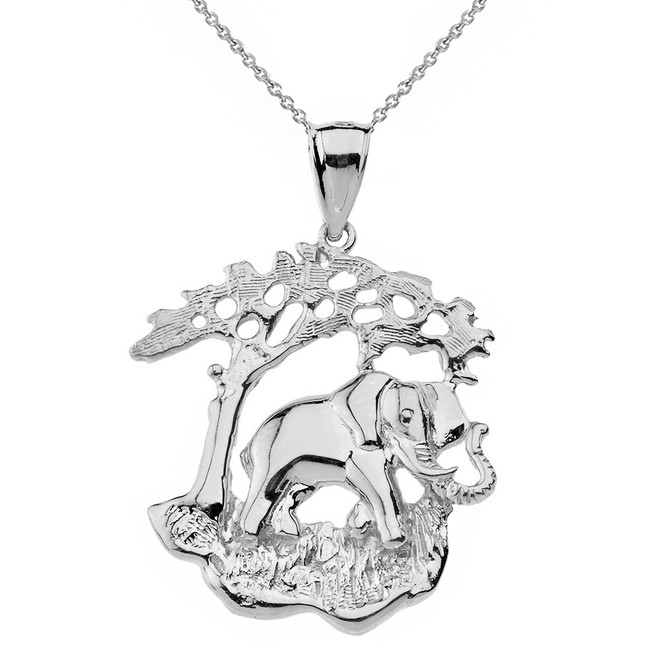 Sterling Silver Elephant Tree of Life Pendant Necklace