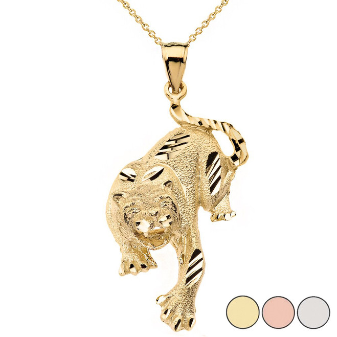 Sparkle Cut Tiger Pendant Necklace in Solid Gold (Yellow/Rose/White)
