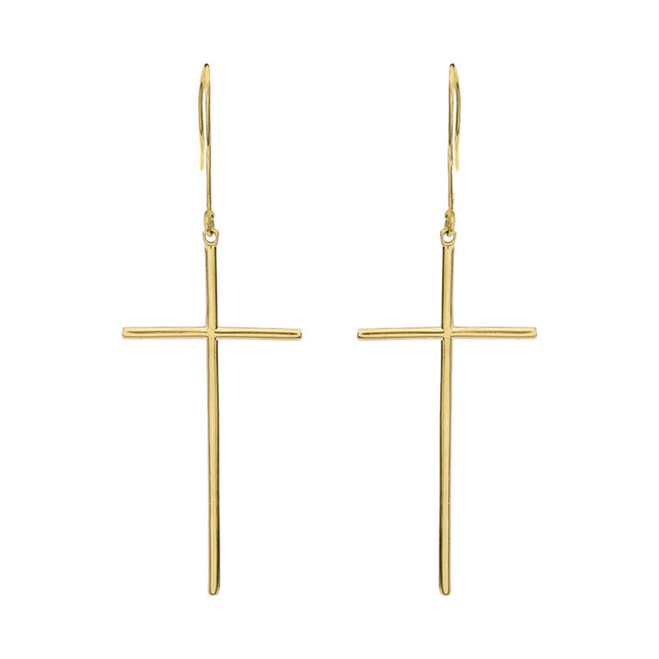 Dangling Dainty Solid Yellow Gold Cross Earrings