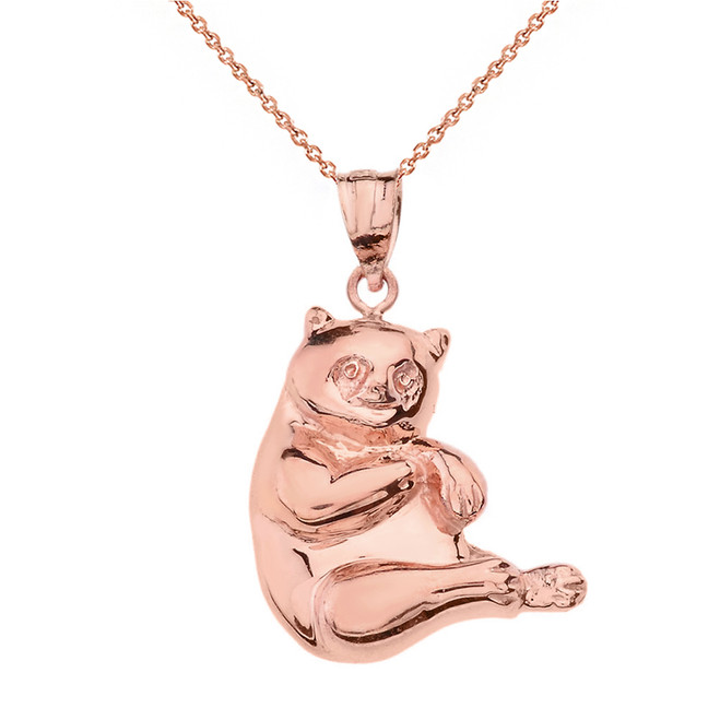 Solid Rose Gold Panda Pendant Necklace