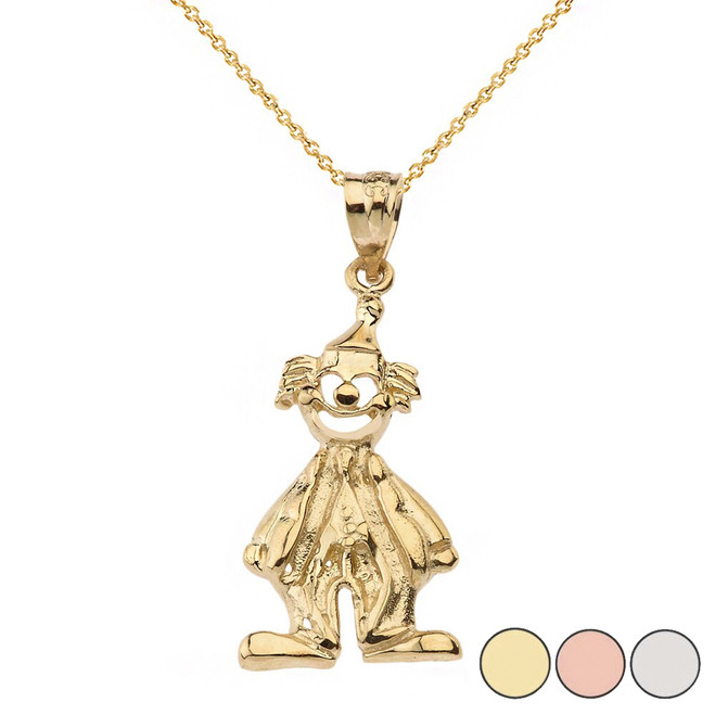 Auguste Clown Pendant Necklace in Solid Gold (Yellow/Rose/White)
