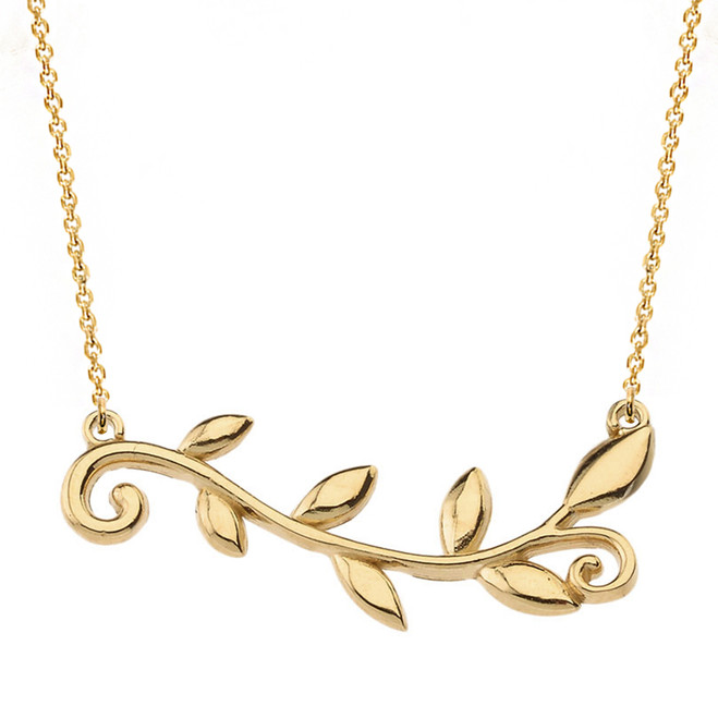 14k Solid Yellow Gold Olive Branch Horizontal Necklace