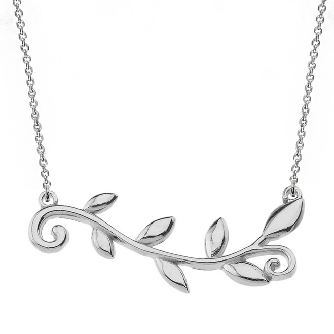 Sterling Silver Olive Branch Horizontal Necklace