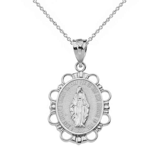 Solid White Gold Miraculous Medal of Our Lady of Graces Pendant Necklace (Small)