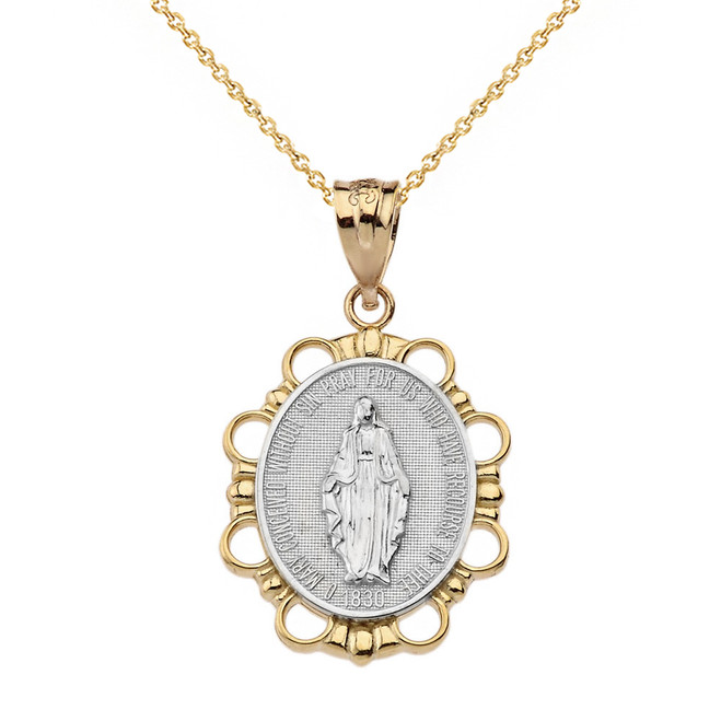 Solid Two Tone Yellow Gold Miraculous Medal of Our Lady of Graces Pendant Necklace (Small)