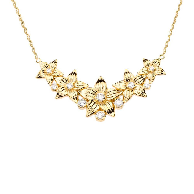 14K Elegant Cubic Zirconia Flower Necklace in Yellow Gold