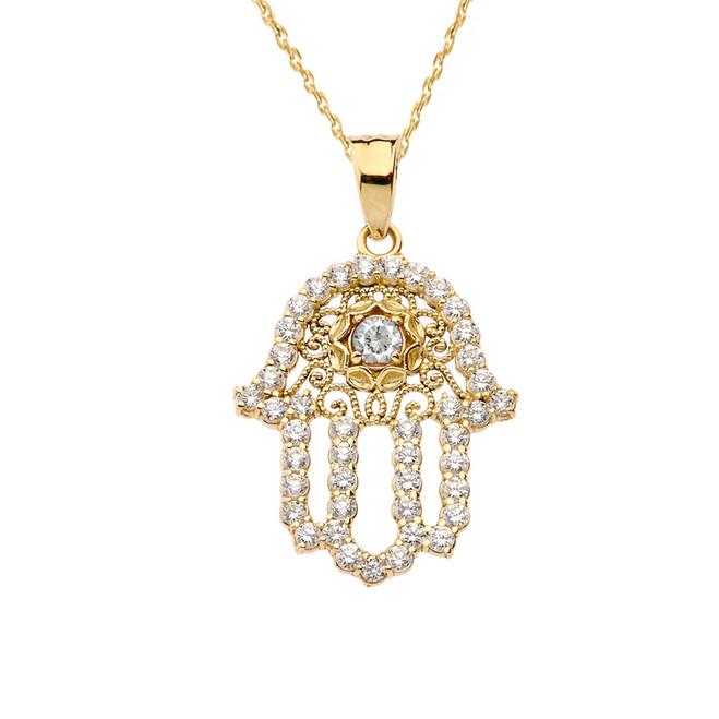 Chic Diamond & White Topaz Hamsa Pendant Necklace in Yellow Gold