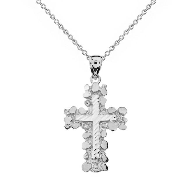 Sterling Silver Nugget Cross Pendant Necklace (Medium)
