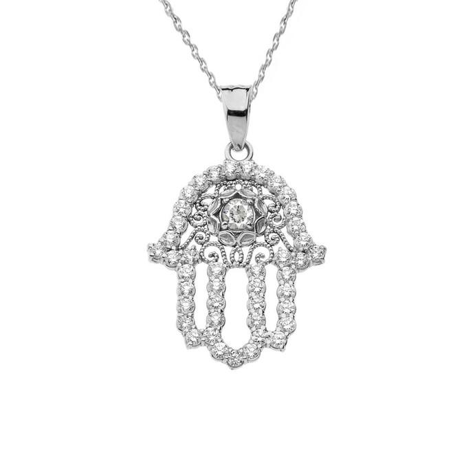 Chic Diamond & White Topaz Hamsa Pendant Necklace in White Gold