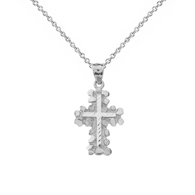 Solid White Gold Nugget Cross Pendant Necklace (Small)