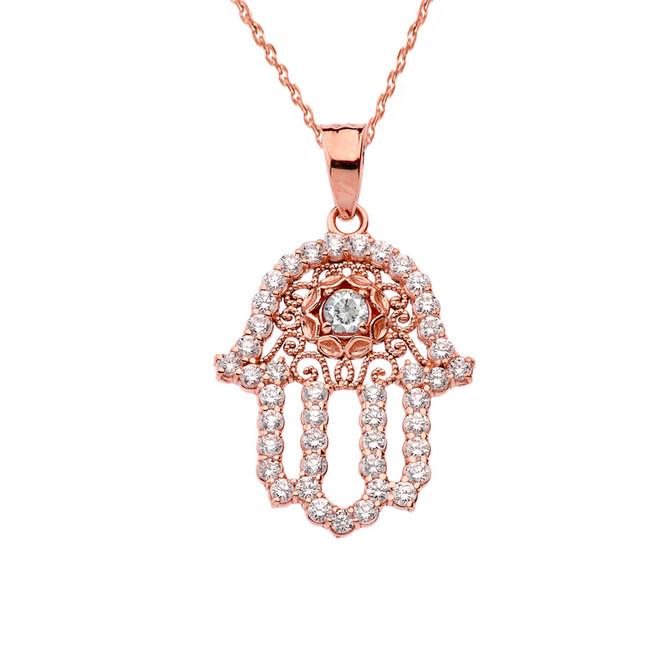 Chic White Topaz Hamsa Pendant Necklace in Rose Gold