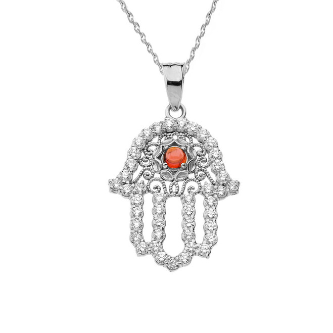 Chic Diamond & Genuine Garnet Hamsa Pendant Necklace in White Gold