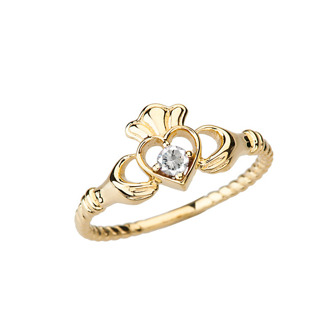 Yellow Gold Solitaire & Promise Open Heart Rope Claddagh Ring