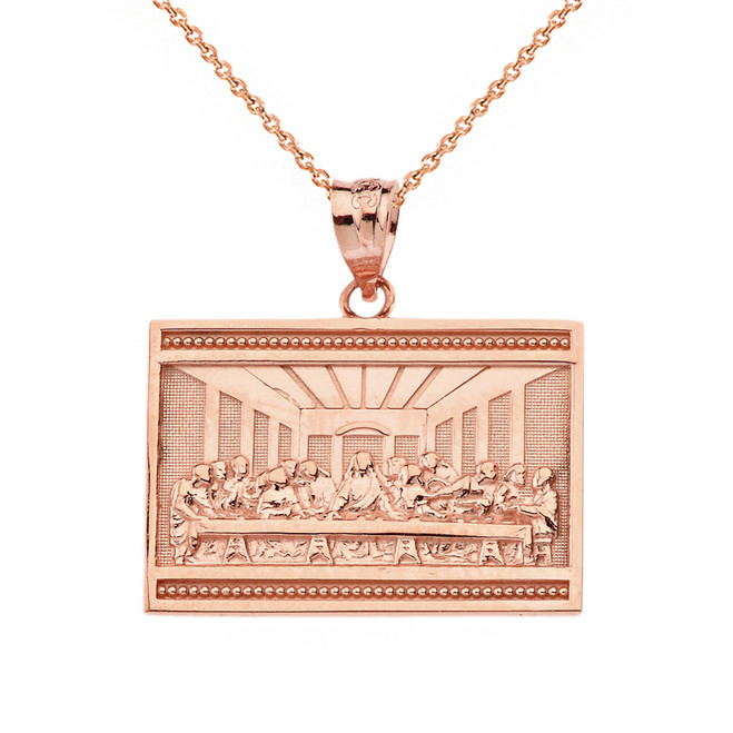 Solid Rose Gold Last Supper  Pendant Necklace