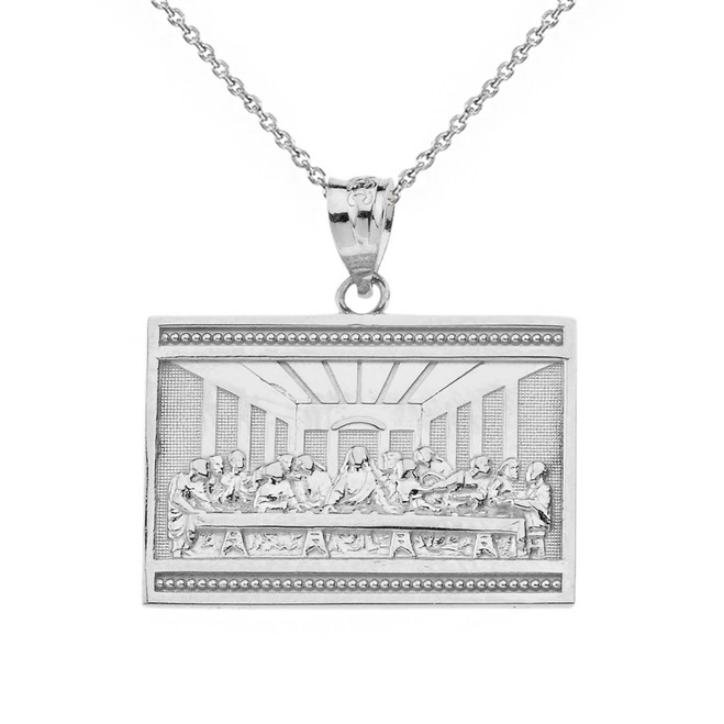 Solid White Gold Last Supper  Pendant Necklace