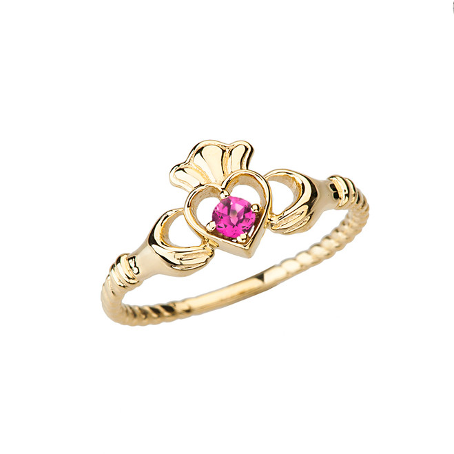 Yellow Gold Lab Created Alexandrite  Solitaire & Promise  Open Heart Rope Claddagh Ring
