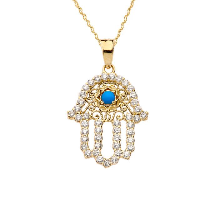 Chic Diamond & Turquoise Hamsa Pendant Necklace in Yellow Gold