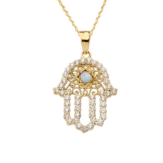 Chic Diamond & Opal Hamsa Pendant Necklace in Yellow Gold