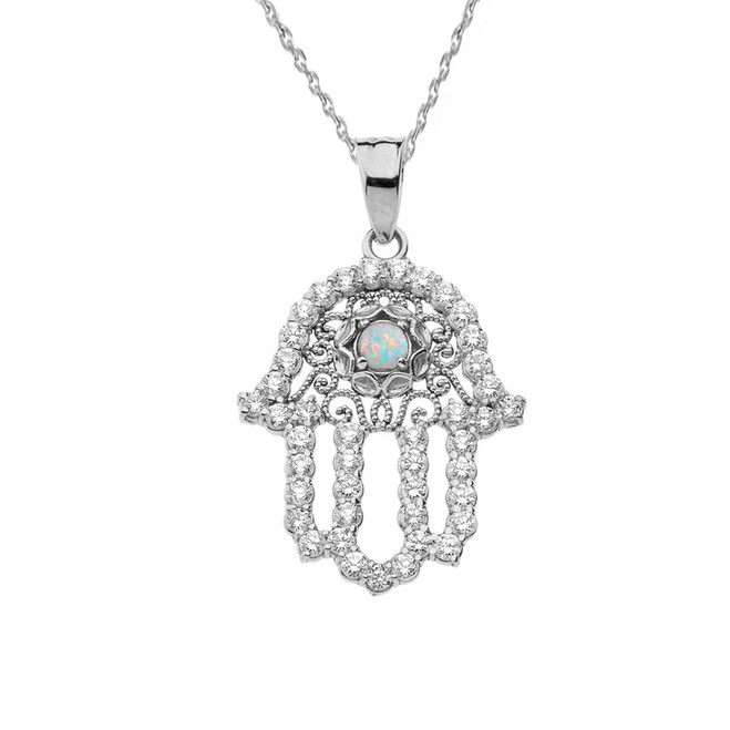 Chic Diamond & Opal Hamsa Pendant Necklace in White Gold