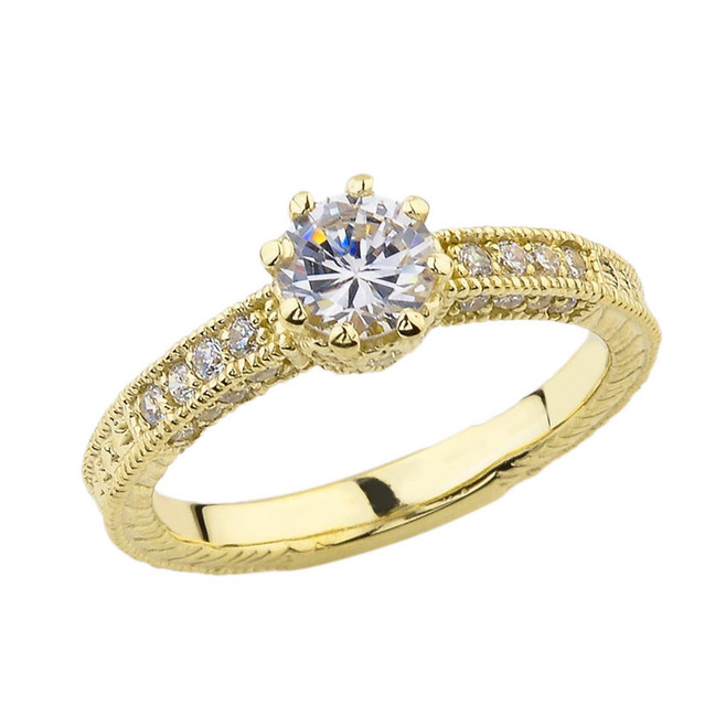Elegant Diamond and White Topaz Art Deco Engagement and Proposal Ring in Yellow Gold