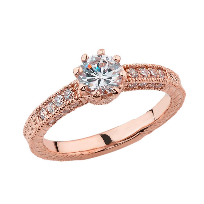 Elegant Art Deco Engagement and Proposal Ring in Rose Gold