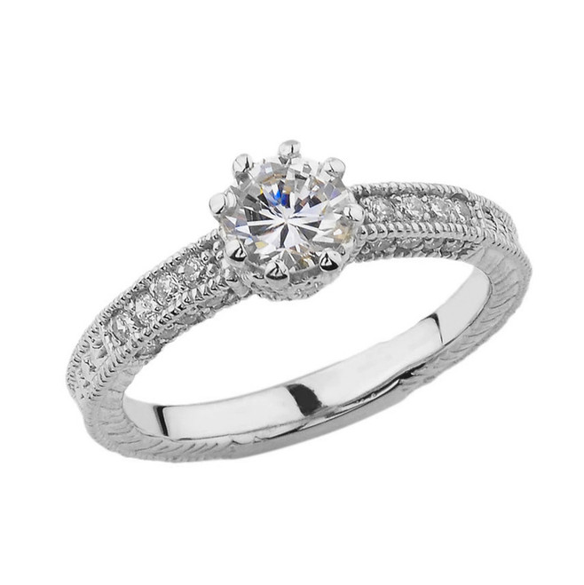 Elegant Art Deco Engagement and Proposal Ring in White Gold