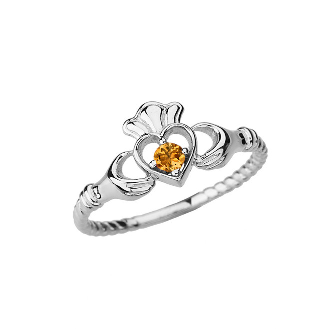 White Gold Genuine Citrine Solitaire & Promise Open Heart Rope Claddagh Ring