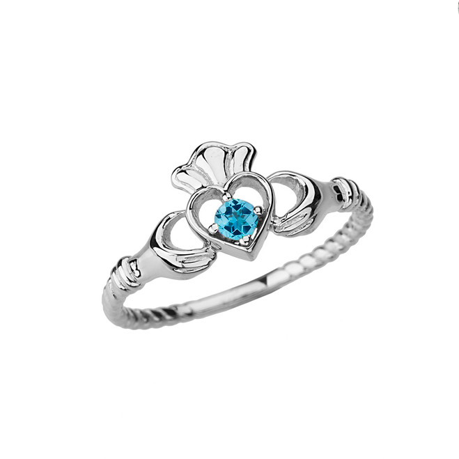 White Gold Genuine Blue Topaz Solitaire & Promise Open Heart Rope Claddagh Ring