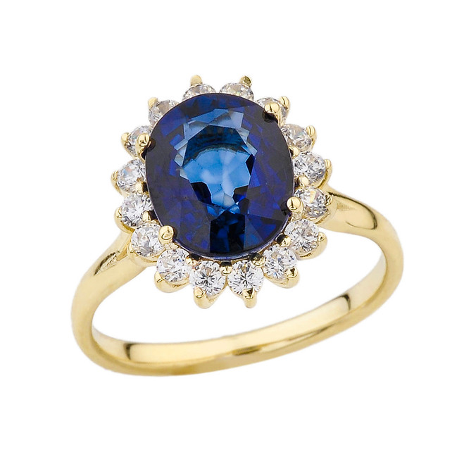 Princess Diana Inspired Halo Engagement Ring with LC Sapphire & Cubic Zirconia in Yellow Gold
