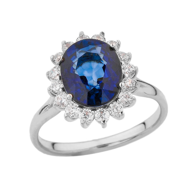 Princess Diana Inspired Halo Engagement Ring with LC Sapphire & Cubic Zirconia in White Gold