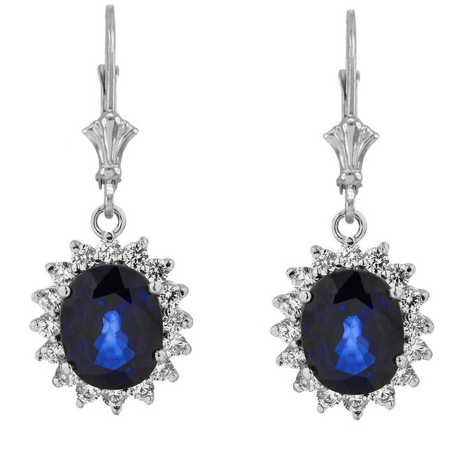 Princess Diana Inspired Halo LC Sapphire & Diamond Earrings in 14K White Gold
